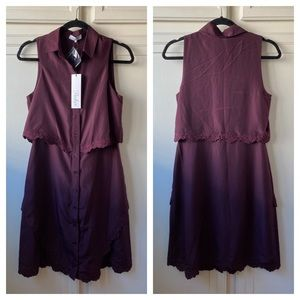 NWT Parker Overlay Button Front Shirt Dress Small